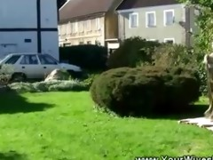 sunbathing granny blows lad in yard