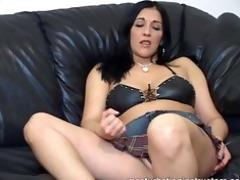 jerk off teacher demos masturbation with her legs