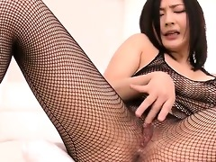 fishnet clad megumi haruka rips her nets apart to