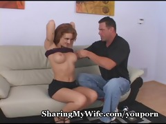 hubby jerks off watching wife team fuck ally