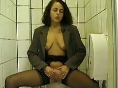 public toilet fellatio and peeing with