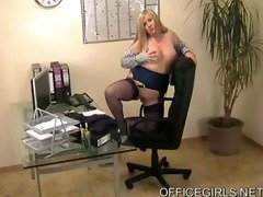 breasty golden-haired secretary in blue nylons at
