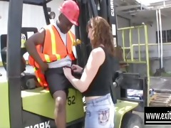 dee enjoys bbc of a forklift driver