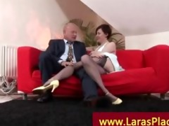 sexually excited woman in nylons with a older lad