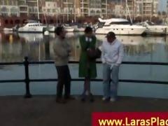 older lady hooked up at the marina