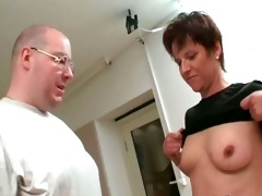 shaved lad rubbing bawdy cleft with sex tool