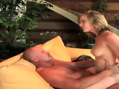 golden-haired bouncing on pulsating hard rod