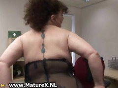 big beautiful woman aged housewife with massive