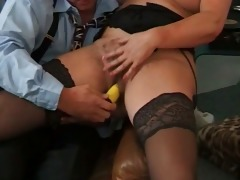 plump and lewd lady blowing cock