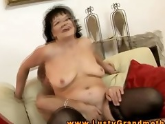 old granny riding dick with a vibrator in her