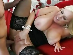 enormous chested blonde momma in nylons acquires