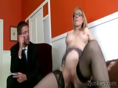breathtaking aged secretary pleases her sons