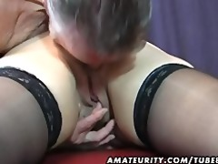 old dilettante pair home action with cum on tits
