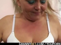 golden-haired granny acquires her unshaved pussy