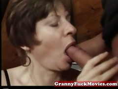 granny engulfing and pounding curly vagina