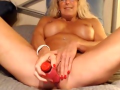 breasty blond cougar pounds her old holes