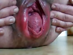 extreme gaping granny cum-hole