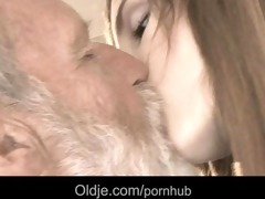 bearded granddad cum in tina's juvenile face