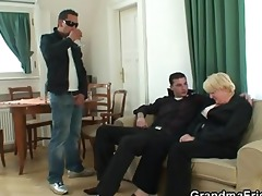 threesome fuckfest with drunk granny