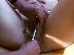 aged lady getting insane shave job