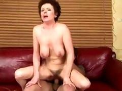 granny receives her hirsute muff drilled hard