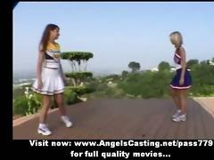 breathtaking hot blond and redhead cheerleader