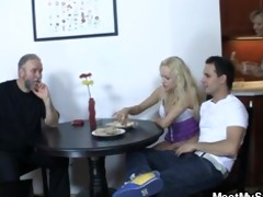 her cum-hole is screwed by her bfs parents