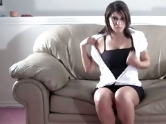 hooker and her massive milk shakes on the couch