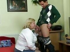 chunky granny sucks juvenile knob befo...