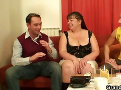plump older babe takes youthful knobs
