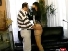 hirsute dark brown analfucked in nylons
