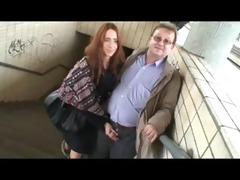 aged lad and juvenile hotty having fun in public