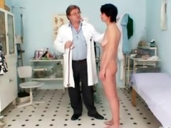 slender milf weird pussy fingering by gyno doctor