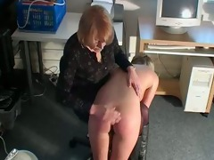 masturbating golden-haired receives spanked by mom
