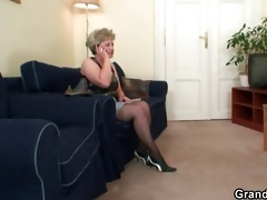 nasty granny toying previous to double fuck