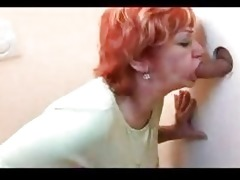 redhead aged team-fucked throughout gloryhole