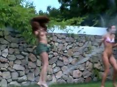 irish women watersports in the garden