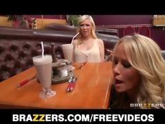 hot blond waitress seduces her customer away from
