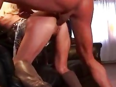mother i pierced blonde in boots getting drilled