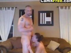 deepthroating wife made him cum inside her throat
