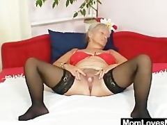 unsightly grandma cecilie toys her hairy slit