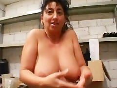 old woman in the warehouse