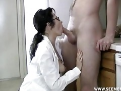 mother i with glasses receives throat full of cum