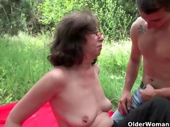 granny receives her backdoor invaded outdoors
