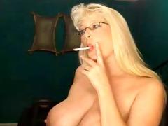 smokig fetish - older blond smokin