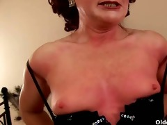 redheaded granny with petite mounds rides rod