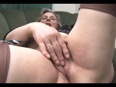 granny in nylons removes pants for fingering