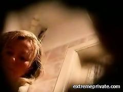 hidden web camera mum washing wet crack in wc