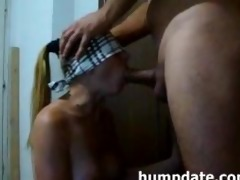 blindfolded wife sucks jock and receives mouthful