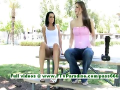jamee superb dark brown woman public flashing